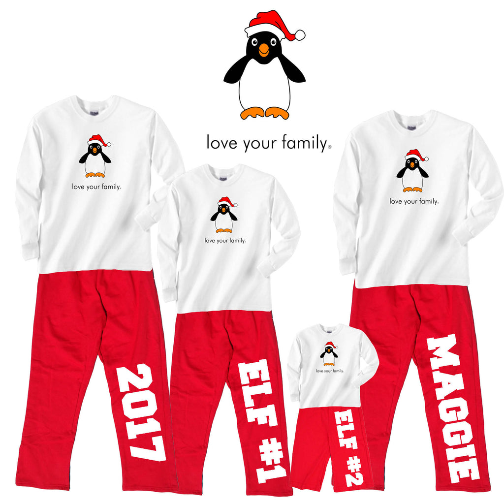 Penguin at the North Pole Family Matching Red Holiday Fleece Outfits