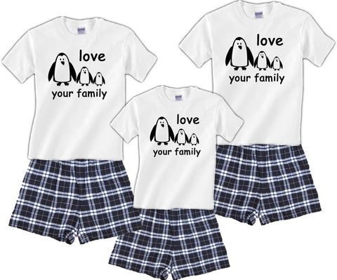 Penguin Gang Matching Family Boxer Short Pajama Sets
