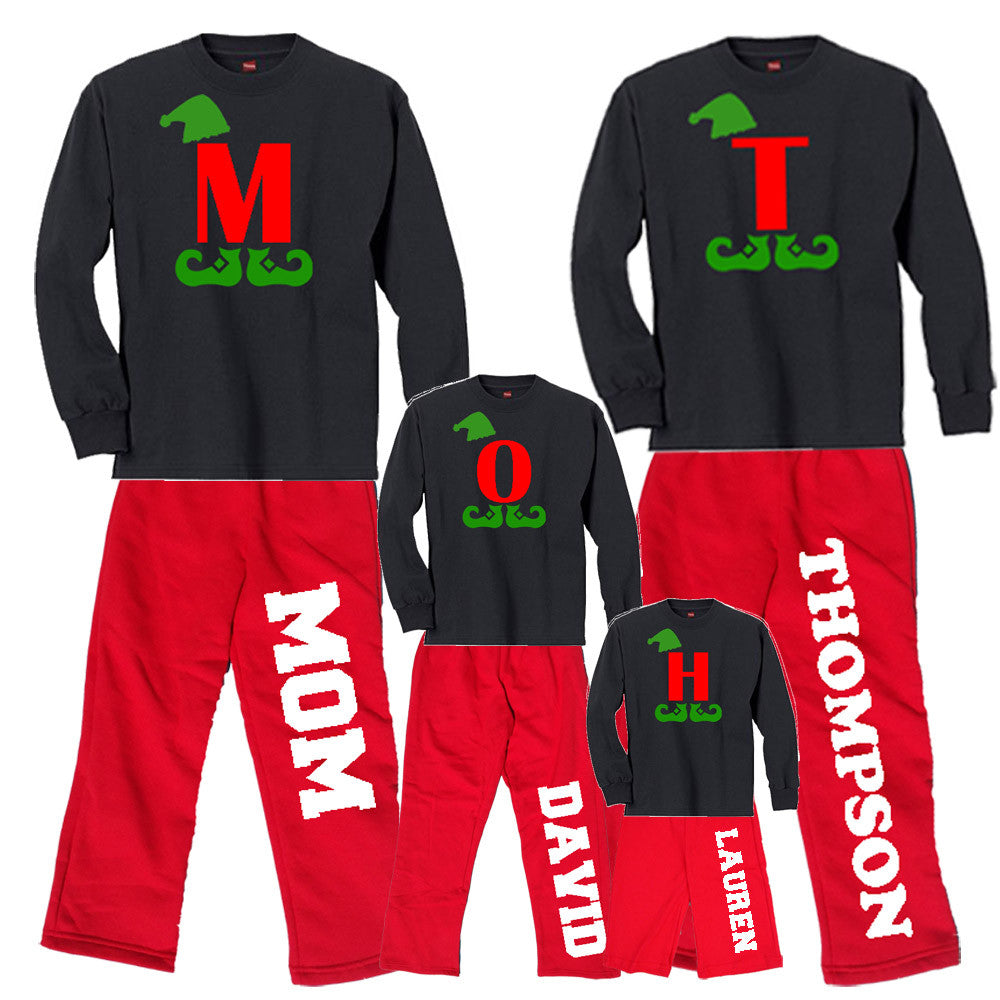 Giant Letter Personalized Christmas Elf Matching Family Outfits