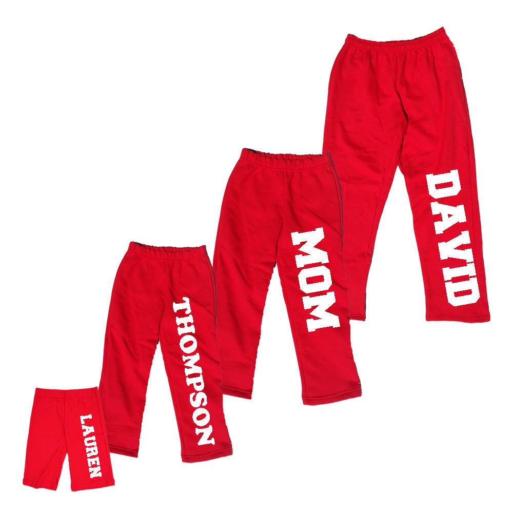 Holiday Red Plush Pants for the Whole Family