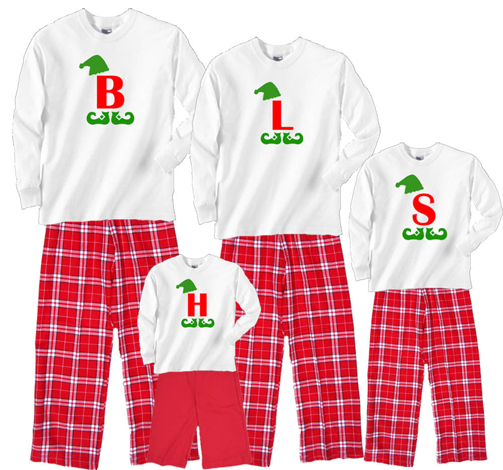 Personalized Giant Letter Misfit Elf Shirt Flannel Pant Sets