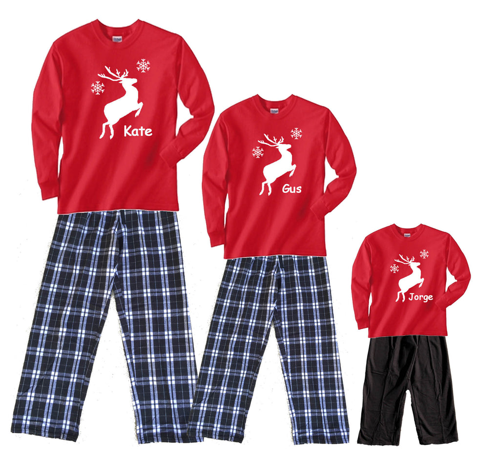 Personalized Leaping Reindeer Matching Family Flannel Pant Sets
