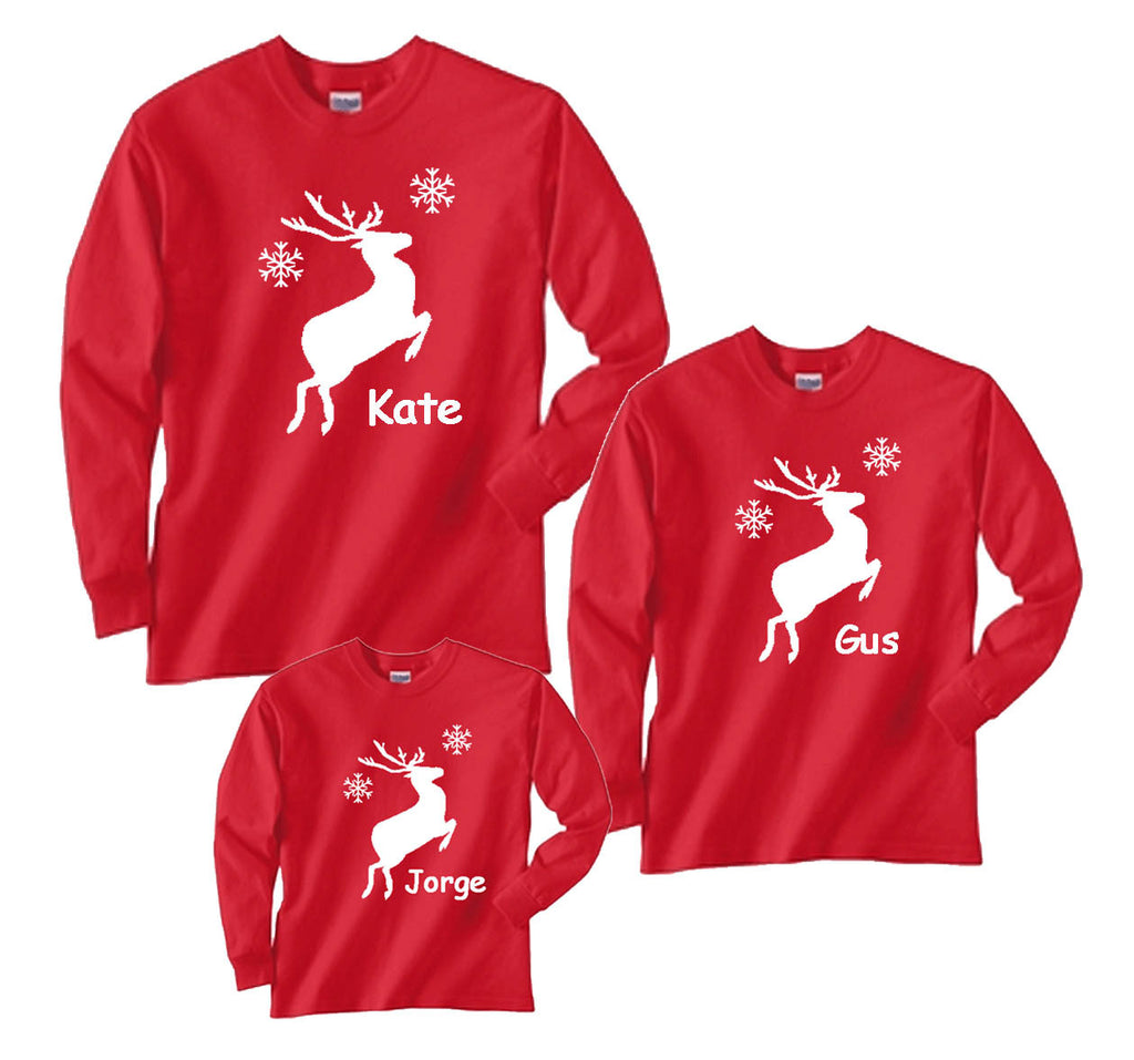 Matching Christmas Shirts For Family.Personalized Leaping Reindeer Family Matching Holiday Shirts