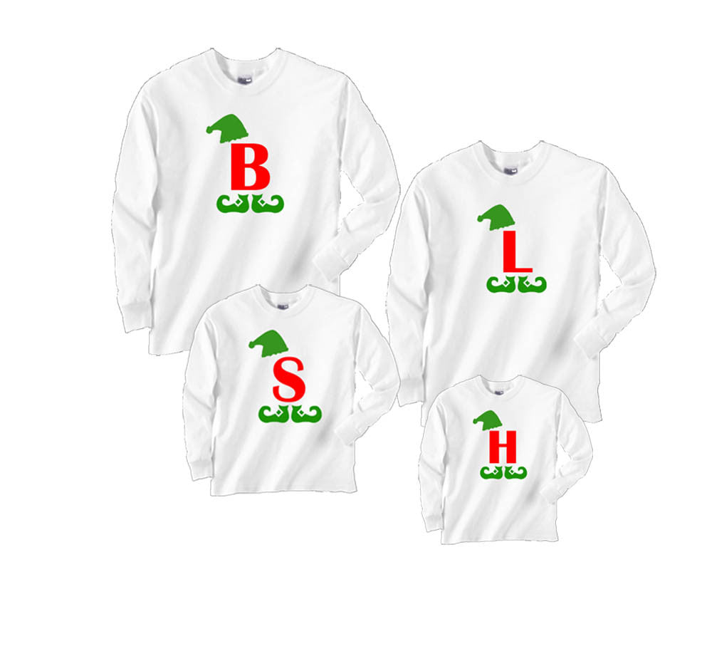 Matching Christmas Shirts For Family.Personalized Giant Elf Letter Family Matching Christmas Shirts