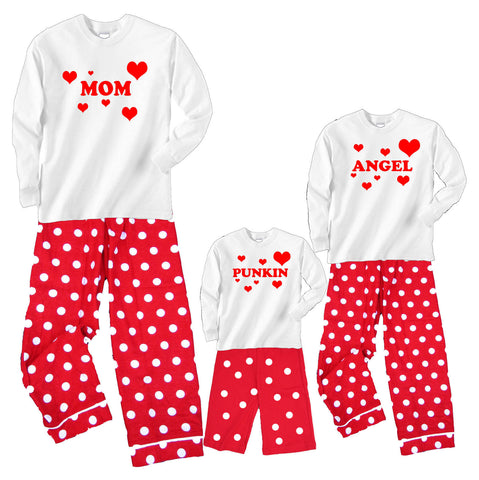 Personalized HEARTS EXPLOSION Mother Daughter Baby Matching Red Polka Dot Sets