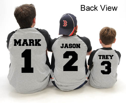 Personalized Custom Name and Number Family Baseball Shirts