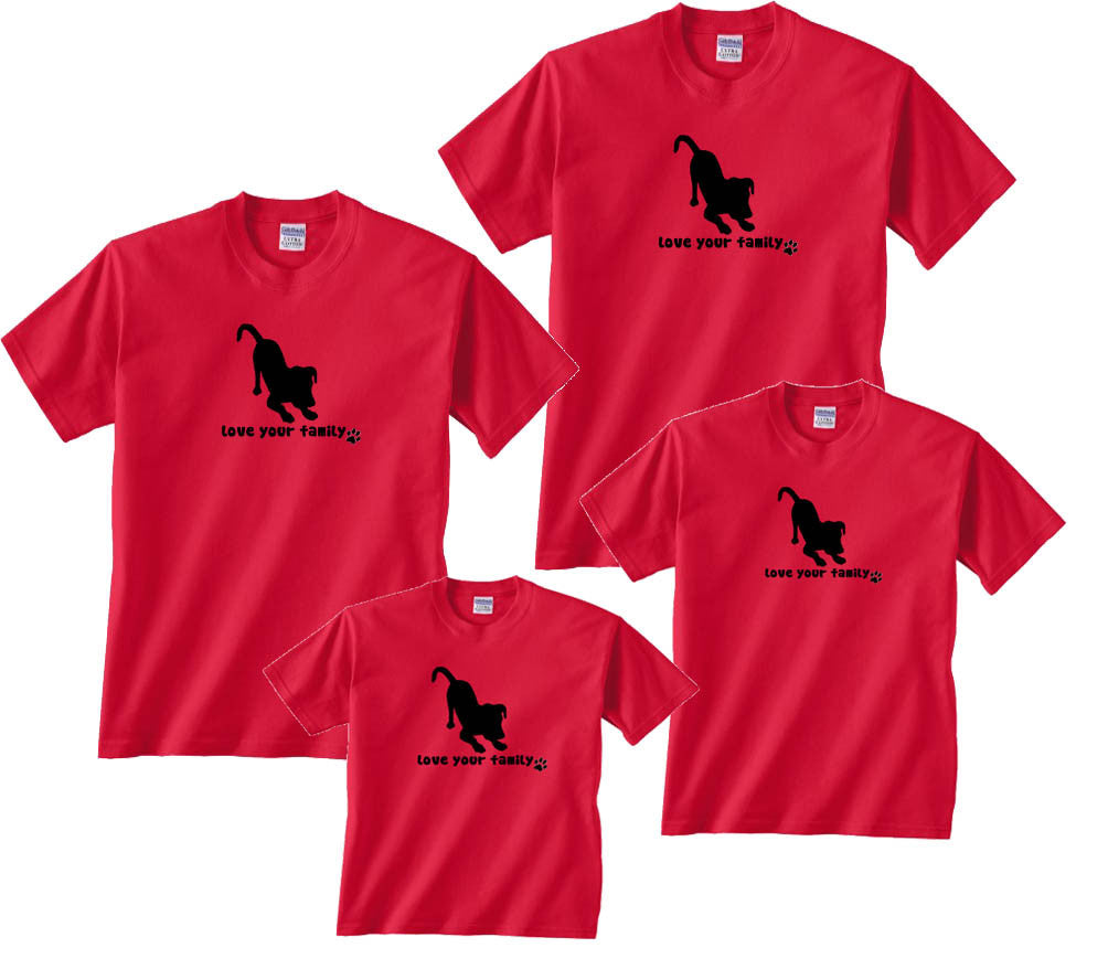 Love Your Family Dog Black Sillouette Matching T-Shirts