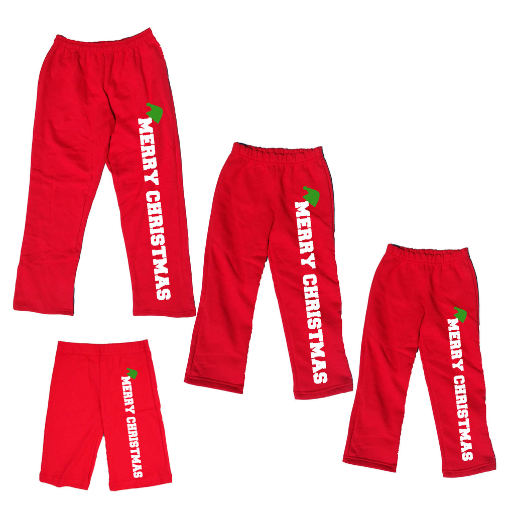 MERRY CHRISTMAS with Elf Hat Red Plush Pants for the Whole Family