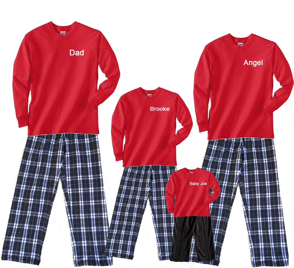Personalized Name Classic Red and Black Matching Family Pant Sets