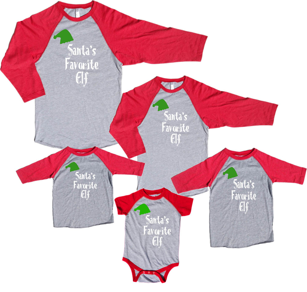 Santa's Favorite Elf Family Matching Baseball Shirts