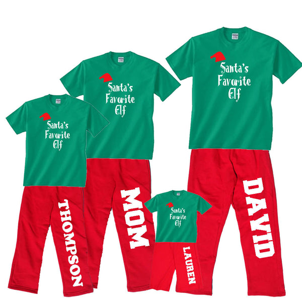 Santa's Favorite Elf Holiday Red Pant Sets for Family