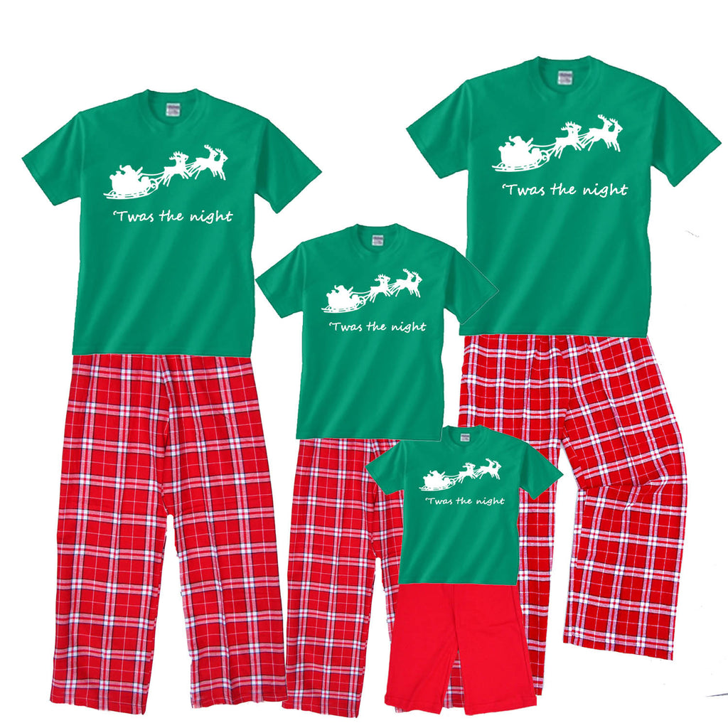 Santa's Sleigh 'Twas the Night Matching Family Flannel Pant Sets