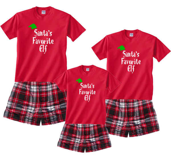 Santa's Favorite Elf Holiday Fun Tee & Boxer PJ Sets