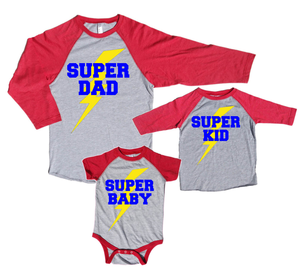 Super Family Personalized Matching Baseball Shirts - Super Dad, Mom, Kid, Baby, custom!