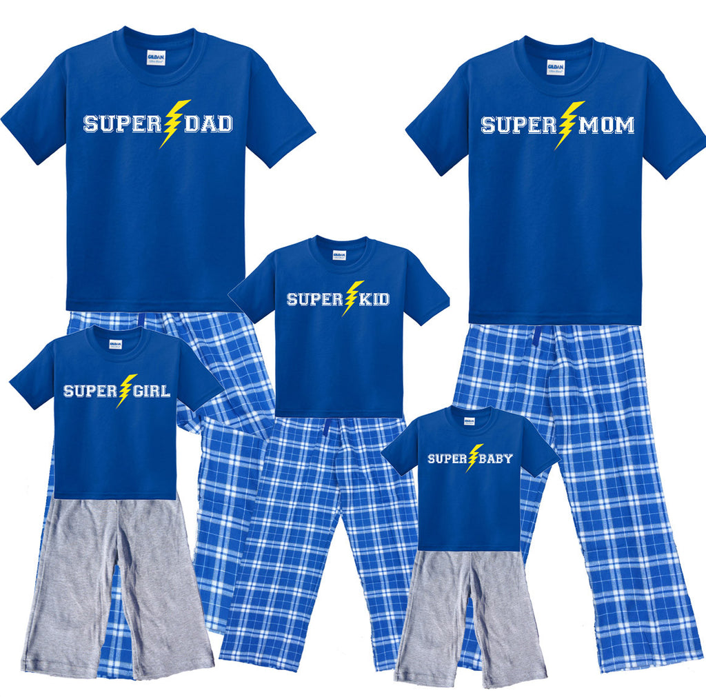 SUPER HERO 'Custom Text' Family Matching Shirt and Pant Sets