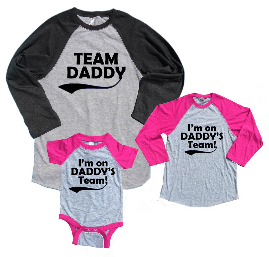 Team Daddy & I'm on Daddy's Team Matching Father & Daughter Baseball Shirts