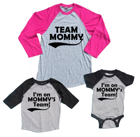Team Mommy & I'm on Mommy's Team Matching Mother Child Baseball Shirts