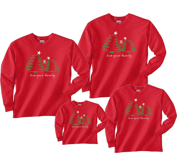 Christmas Trees on Red Matching Shirts in Long Sleeve