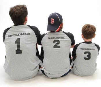 Troublemaker #1, #2, #3, etc. Father & Son Baseball Shirts