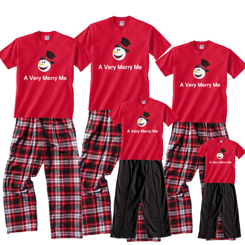 Personalized A Very Merry Snowman Holiday Family Tee and Pant Sets