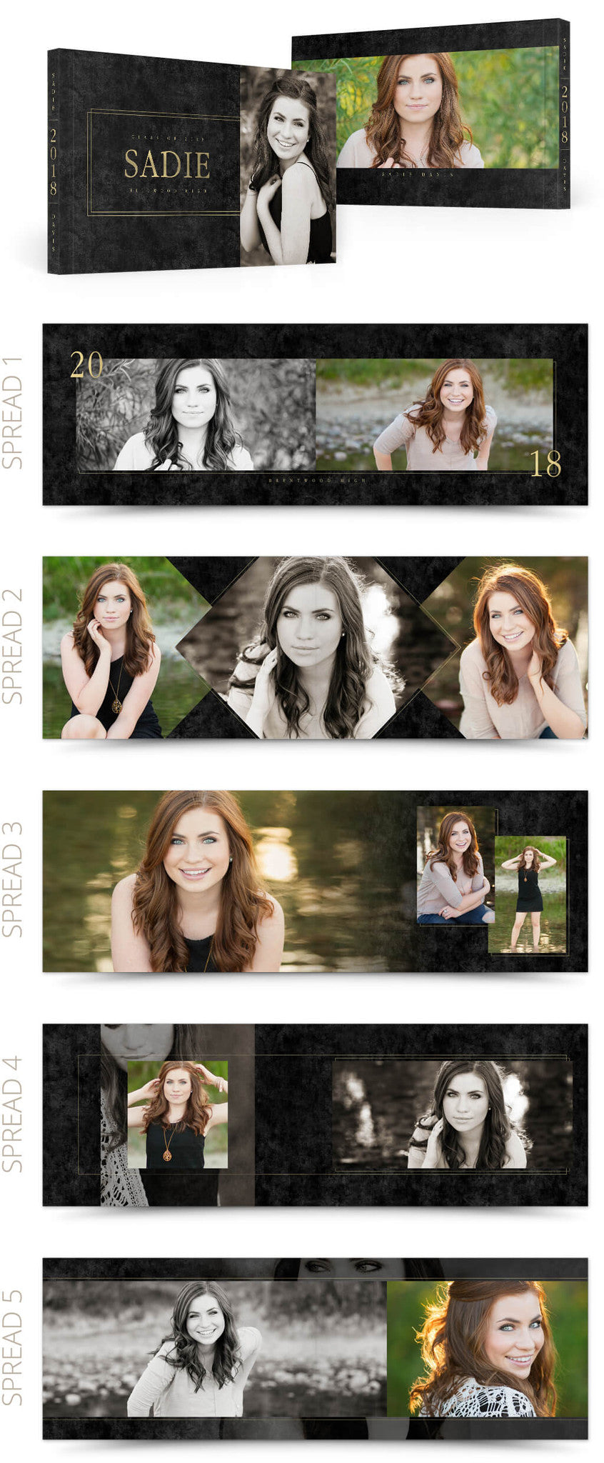 Coed Senior Album Design Photoshop Templates