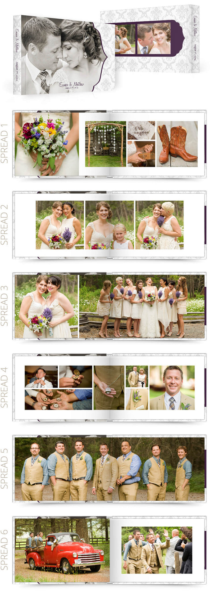 Petit Fleur Wedding 12x8 Album Photoshop Templates