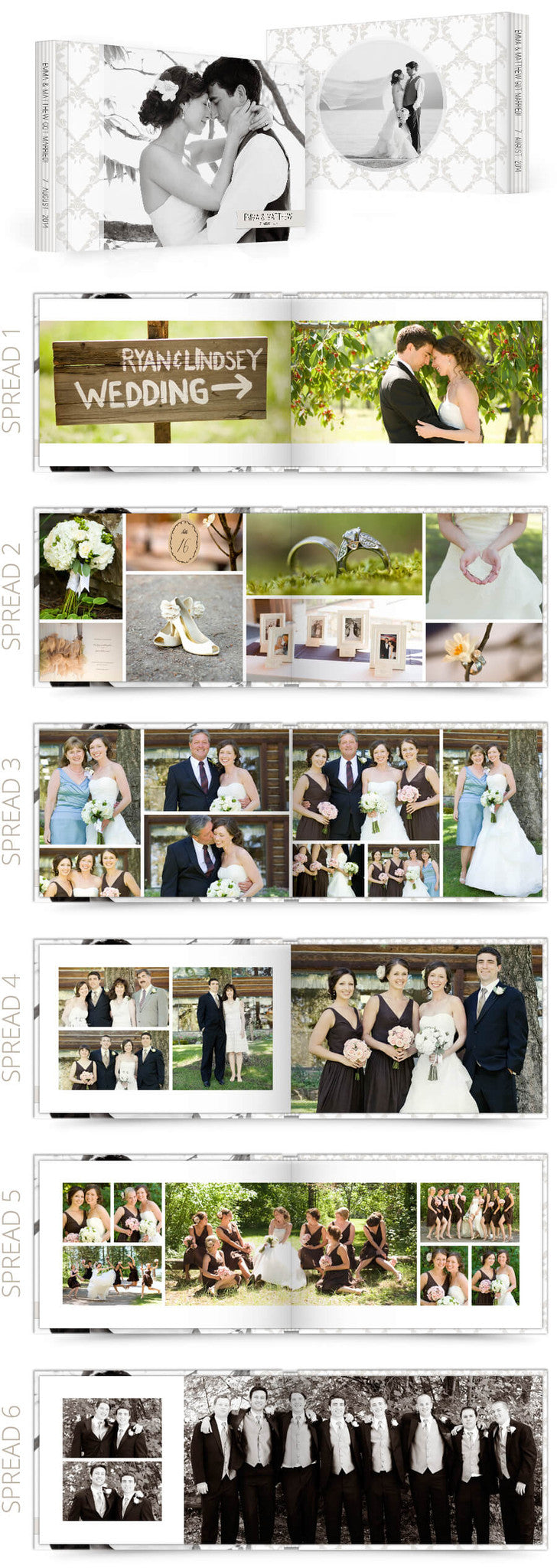 Petit Fleur 2 Wedding 12x8 Album Photoshop Templates