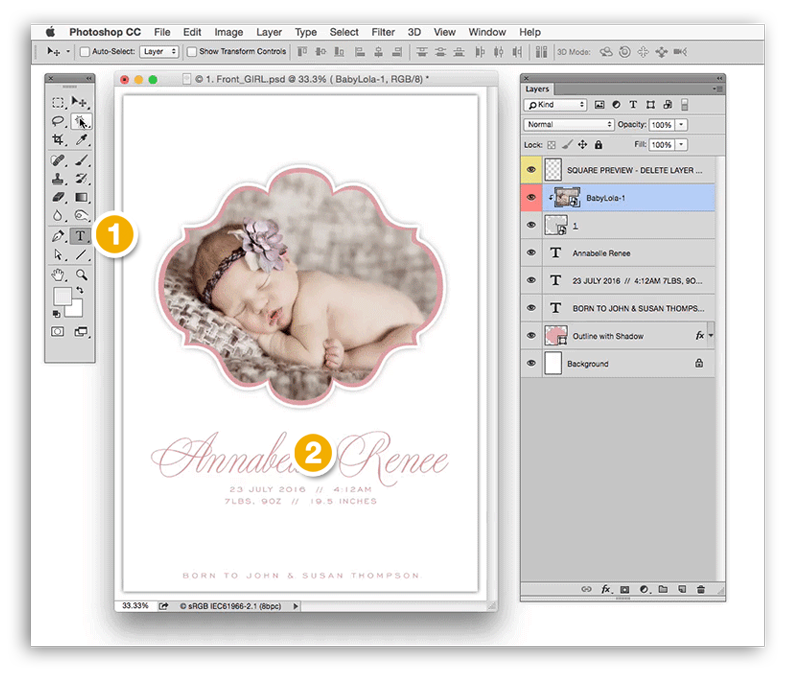 Changing Text in Your Album Cafe Photoshop Templates