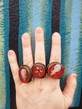 Red Resin Skull and Floral Rings