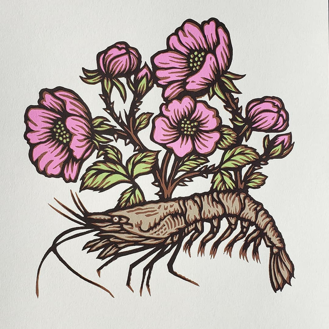 Shrimp with Flowers Print