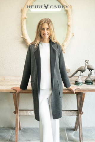 Cashmere Reversible Black and Charcoal Coat by Heidi Carey