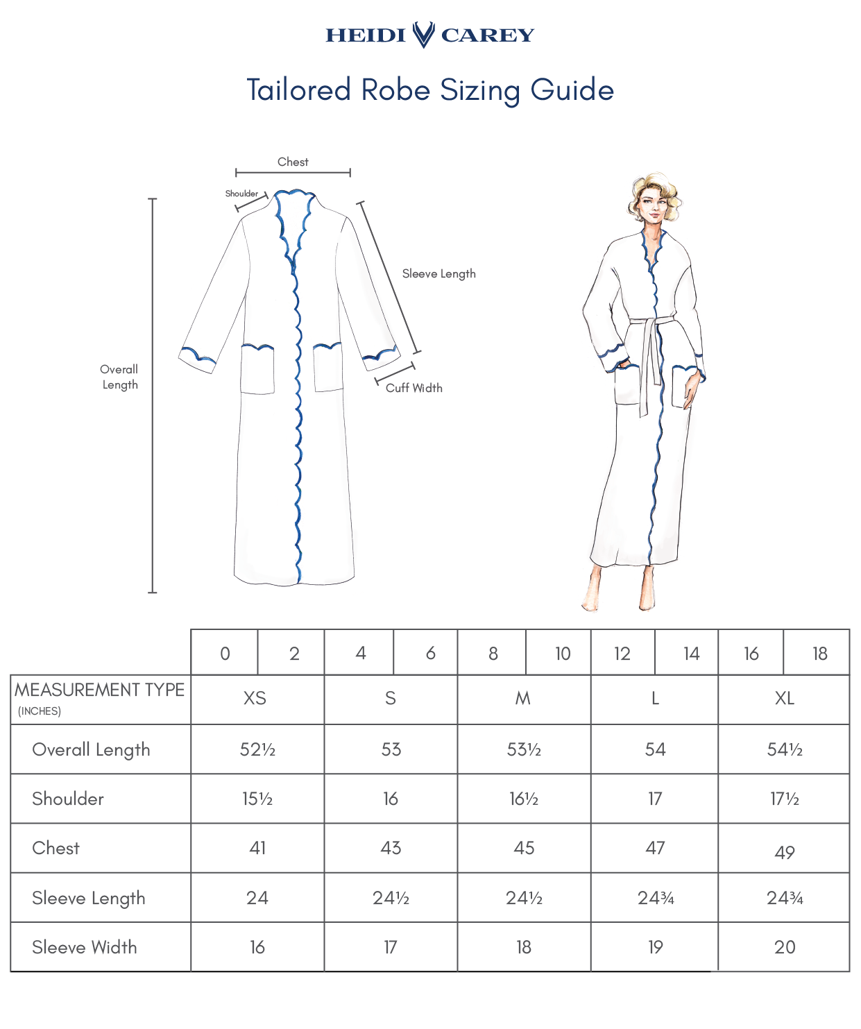 Tailored Robe Sizing Guide