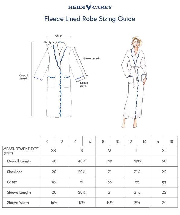 Fleece Lined Robes Sizing Guide
