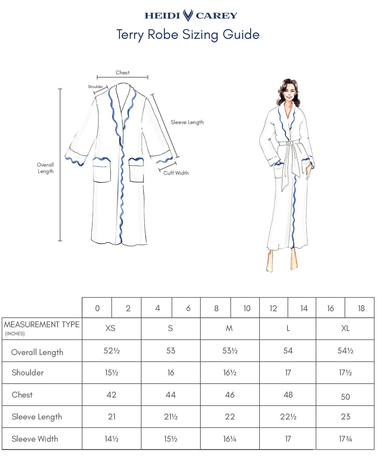 French Terry Robe Sizing Guide