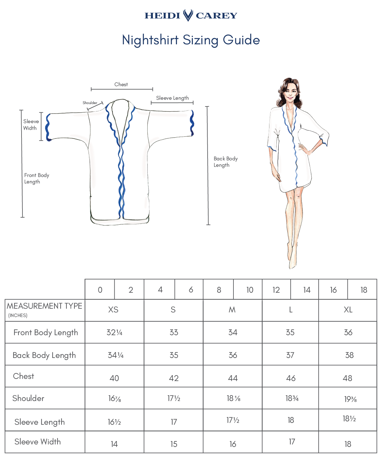 Nightshirt Sizing Guide