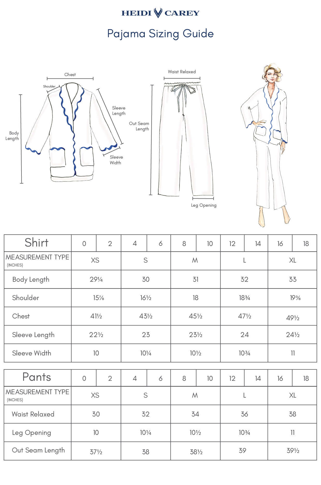 Pajama Sizing Guide