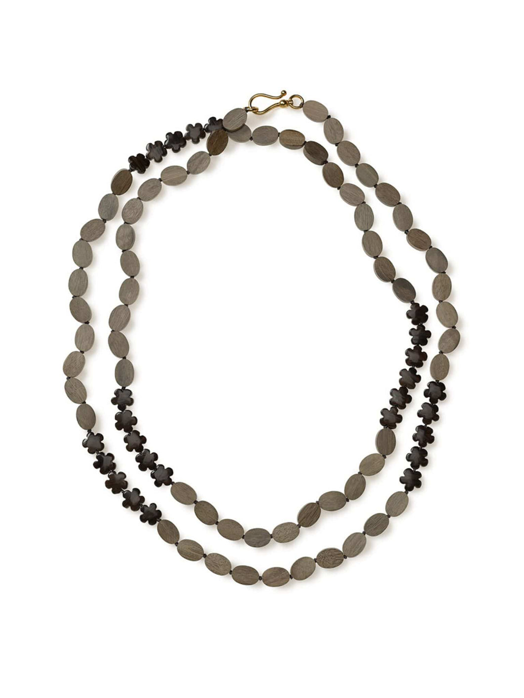 Grey Hardwood Oval and Bronzite Flower Necklace