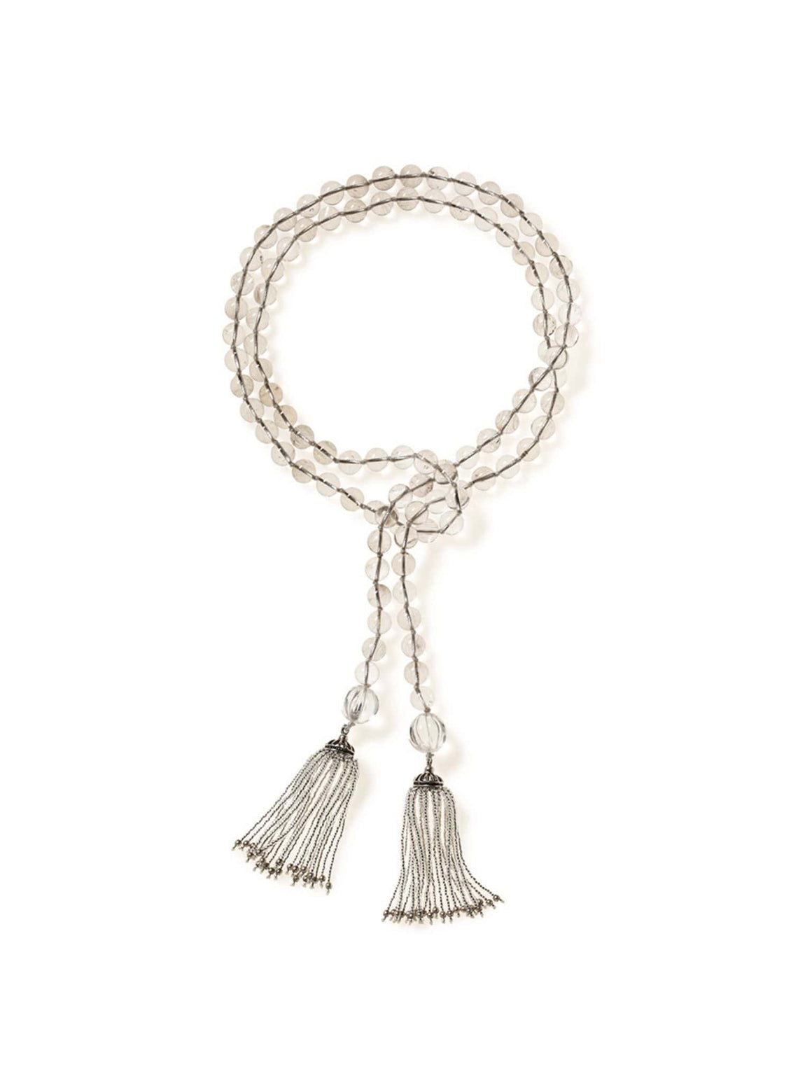 Crystal Quartz Lariat Necklace with Turkish Tassel