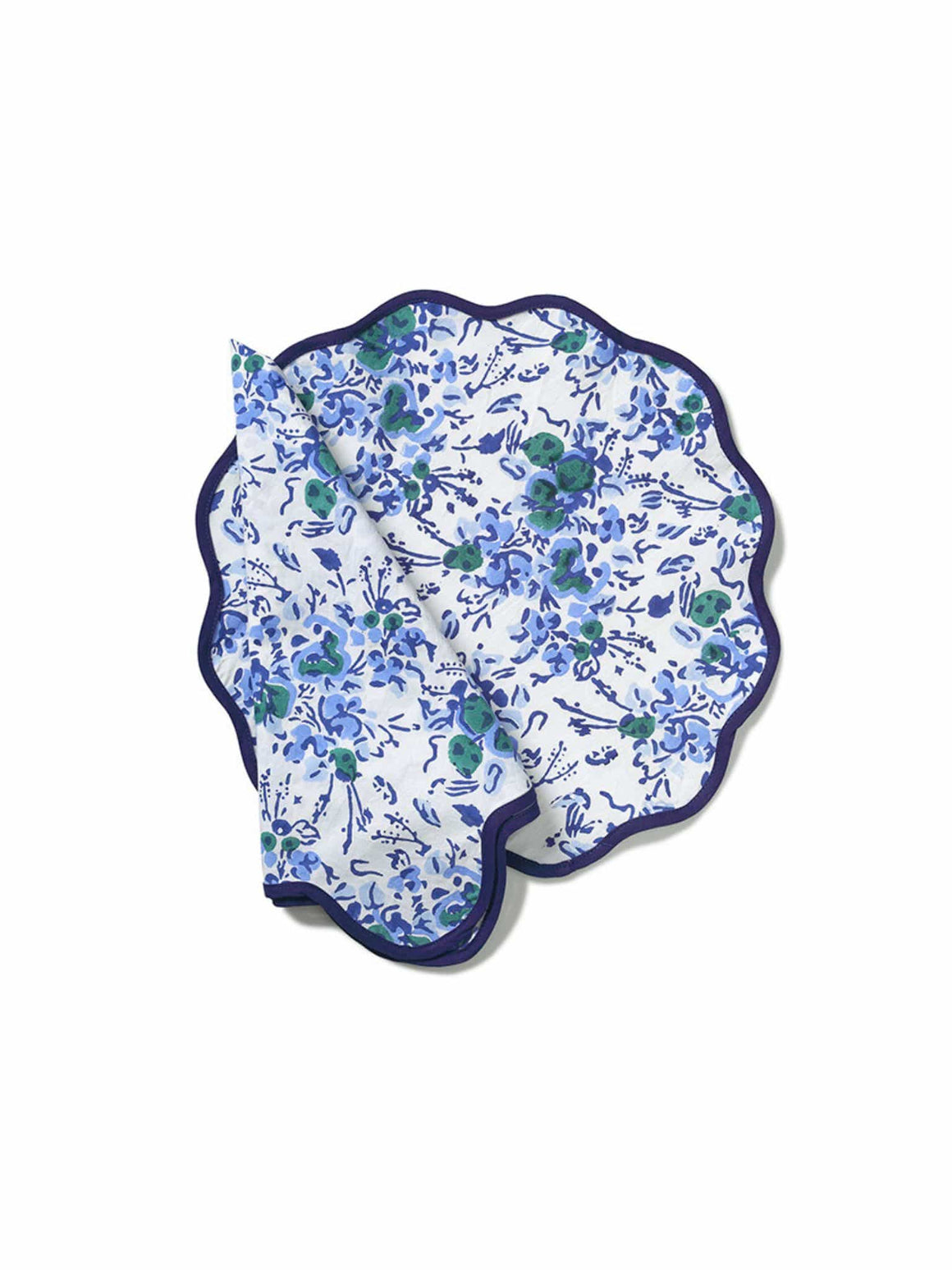 Blue Floral Block Print Scalloped Napkin and Placemat (Set of 4)