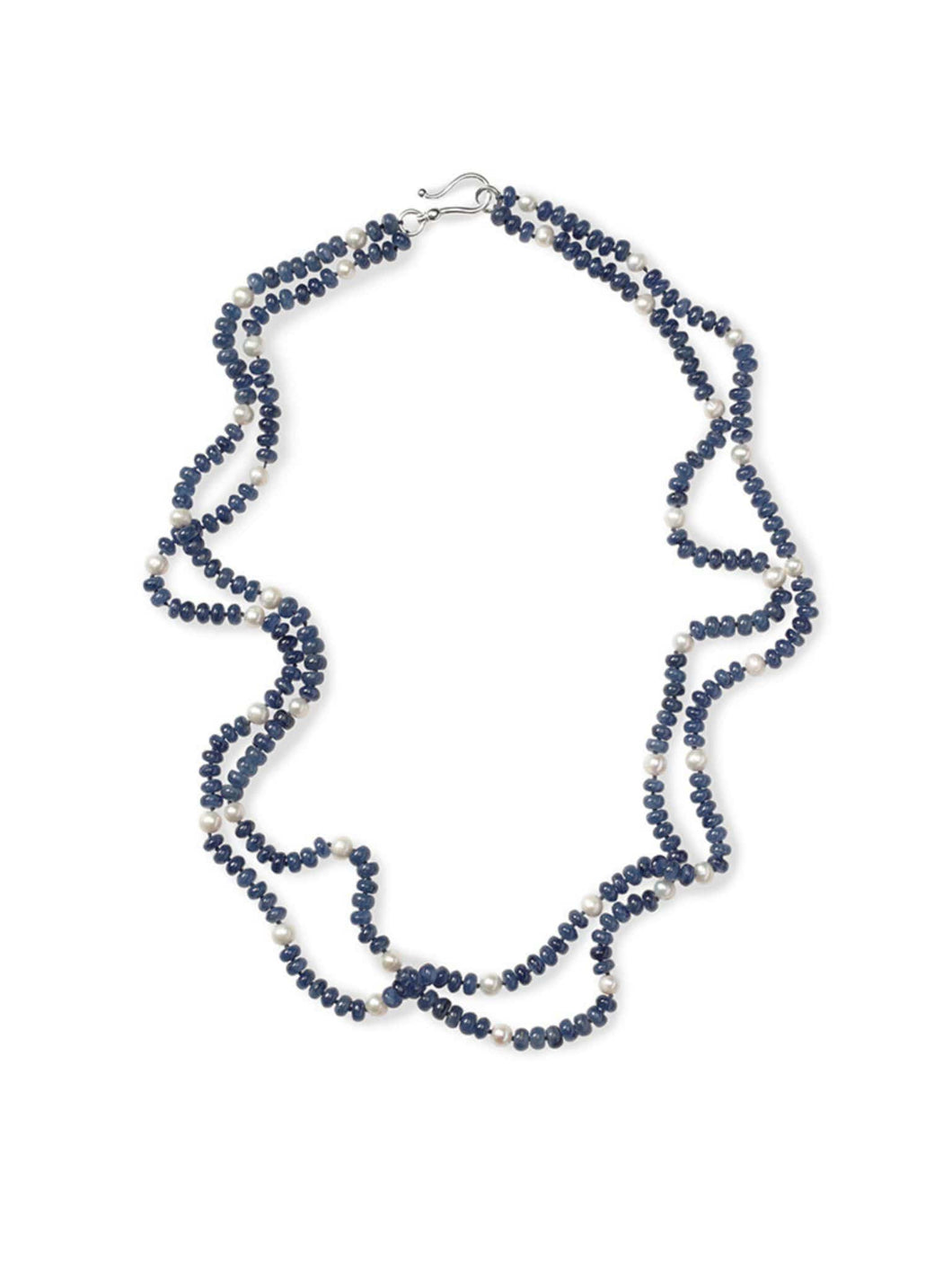 Two Strand Kyanite Necklace with Freshwater Pearls