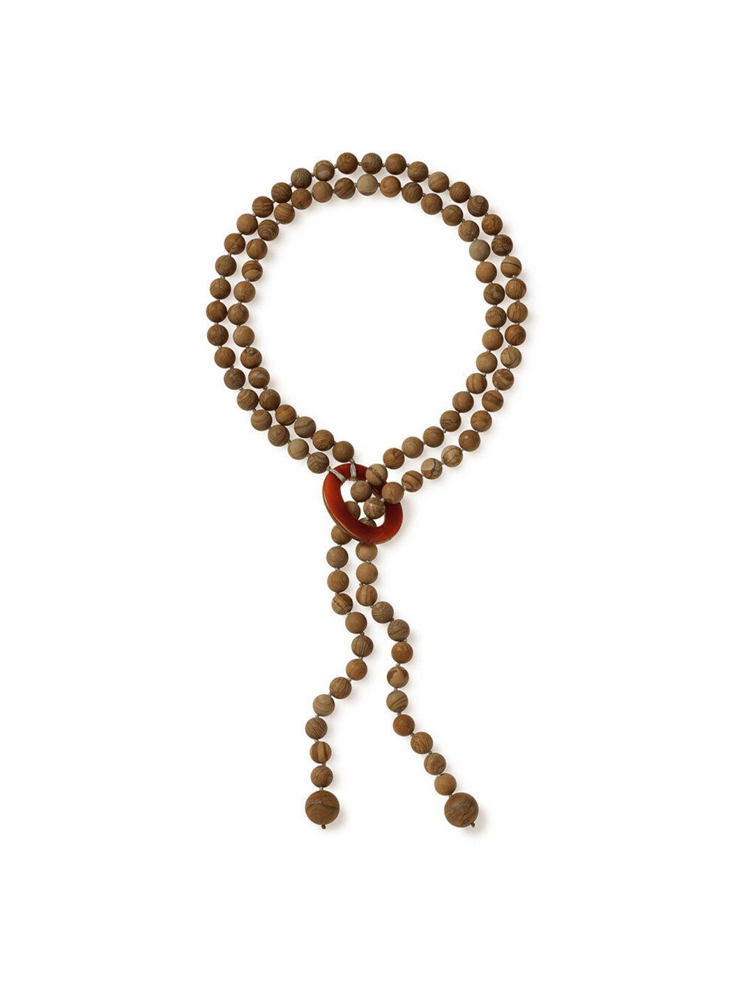 Matte Picture Jasper Necklace with Loop Design and Carnelian Accent