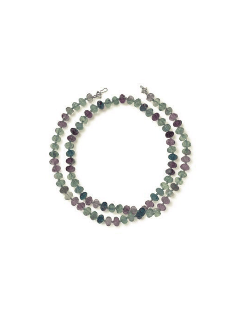 Carved Fluorite Wrap-Around Necklace