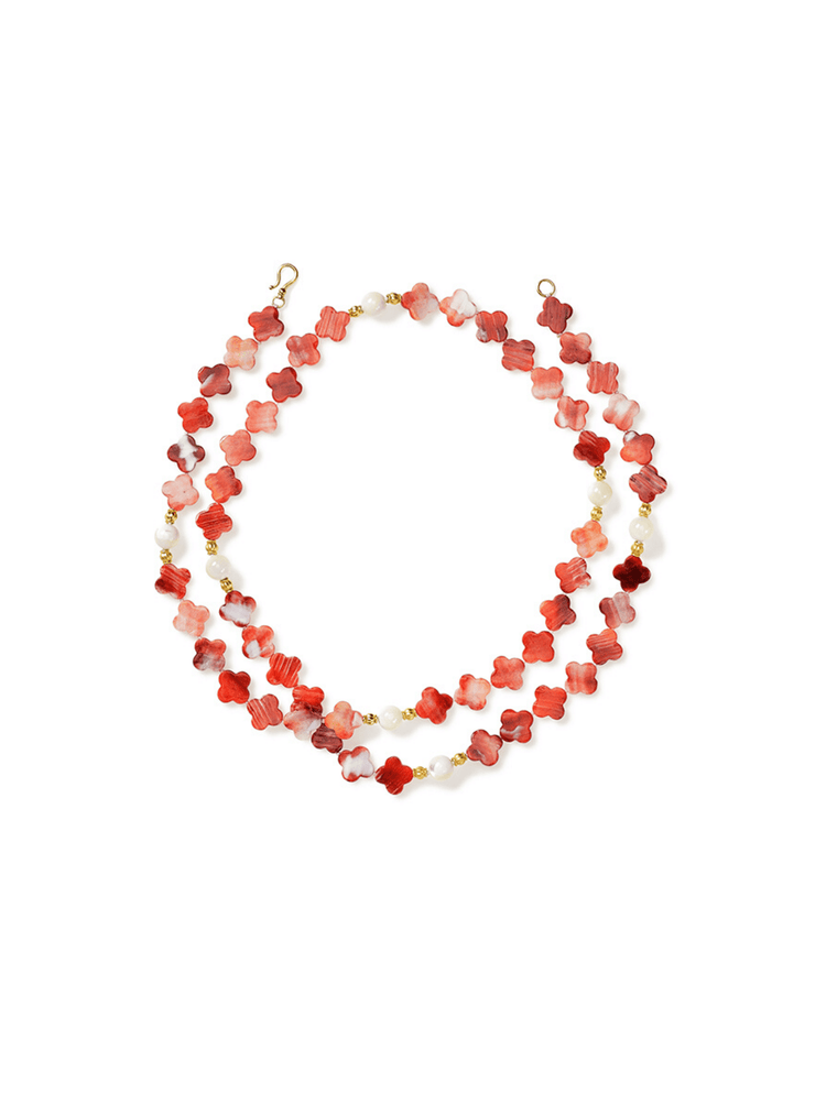 Red Shell Clovers Gold Spacers Necklace