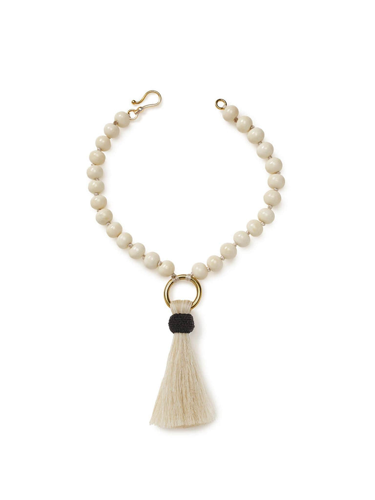Short Bone Necklace with Ivory Horsehair Tassel