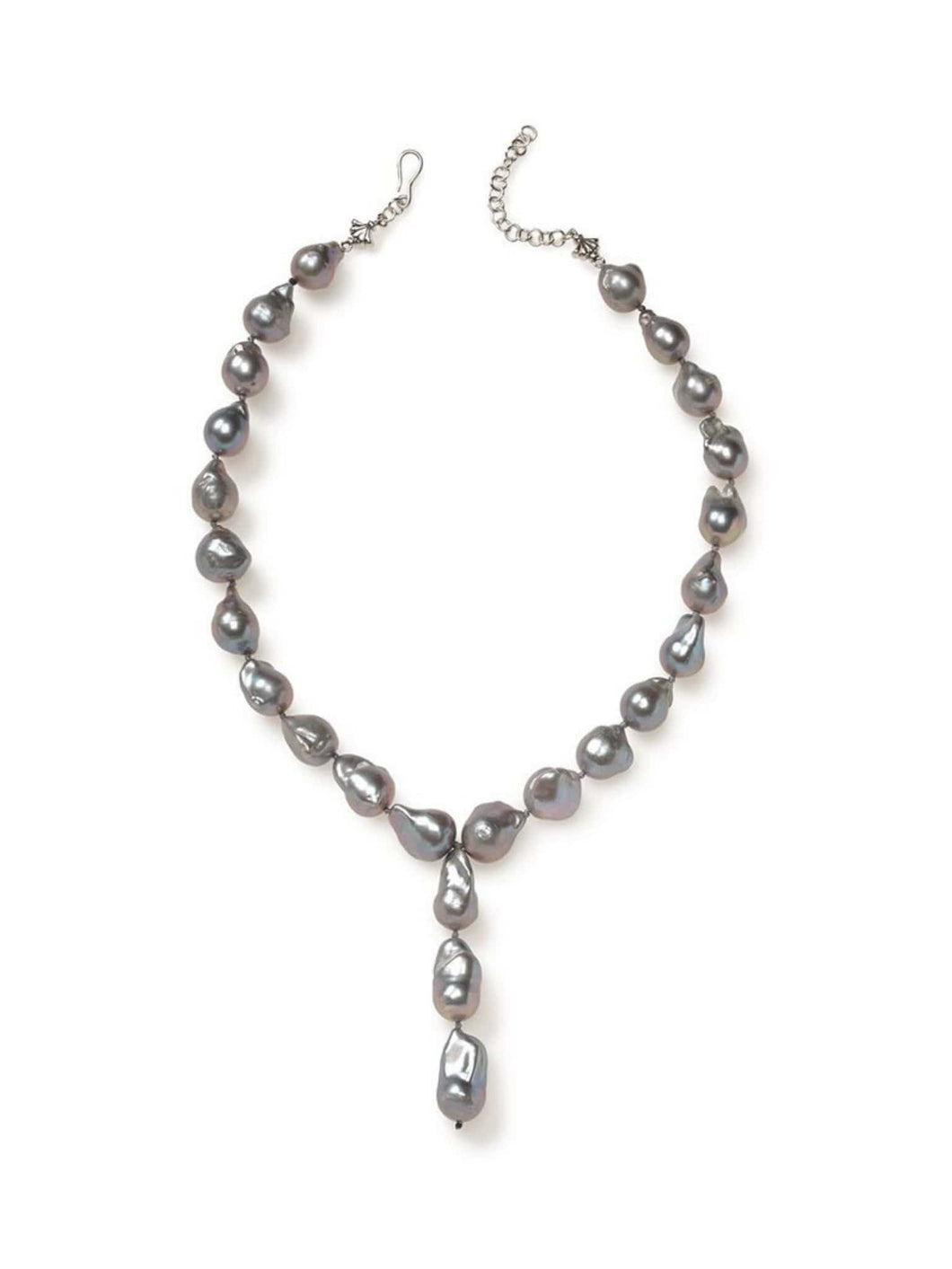 Grey Baroque Pearl Drop Necklace