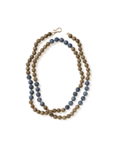 Load image into Gallery viewer, Wood and Denim Coral Wrap-around Necklace