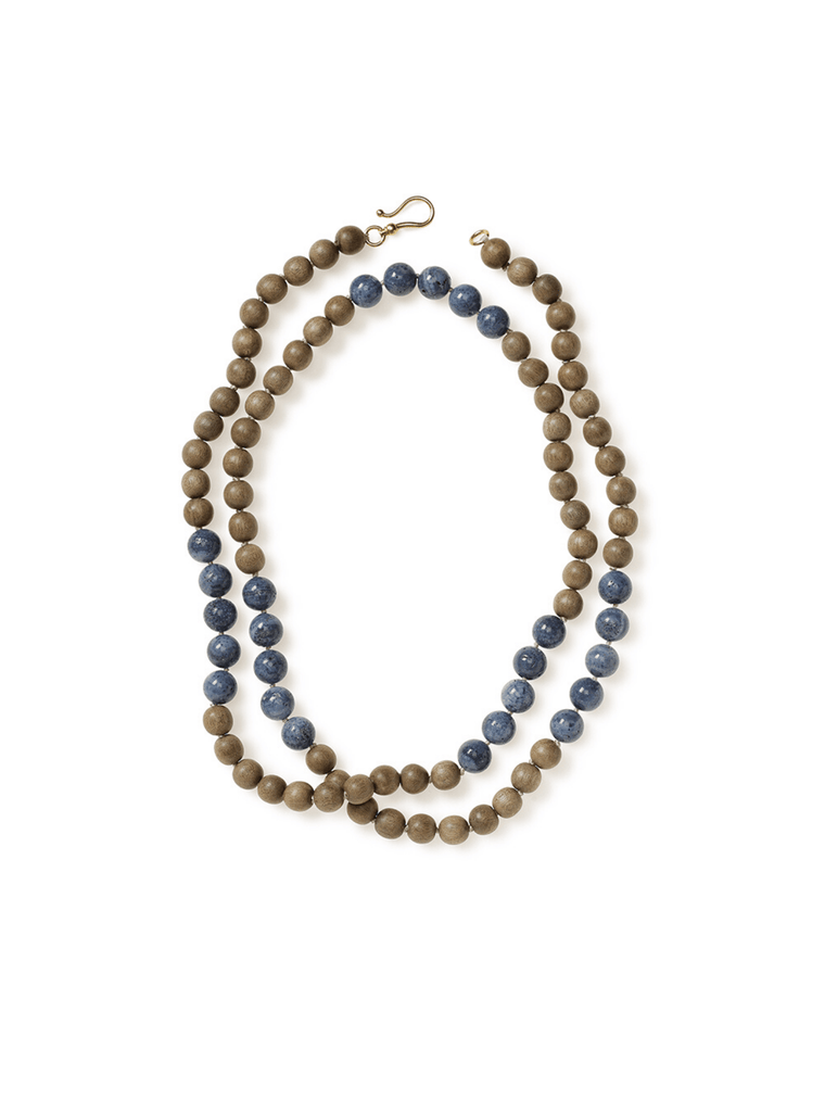 Wood and Denim Coral Wrap-around Necklace