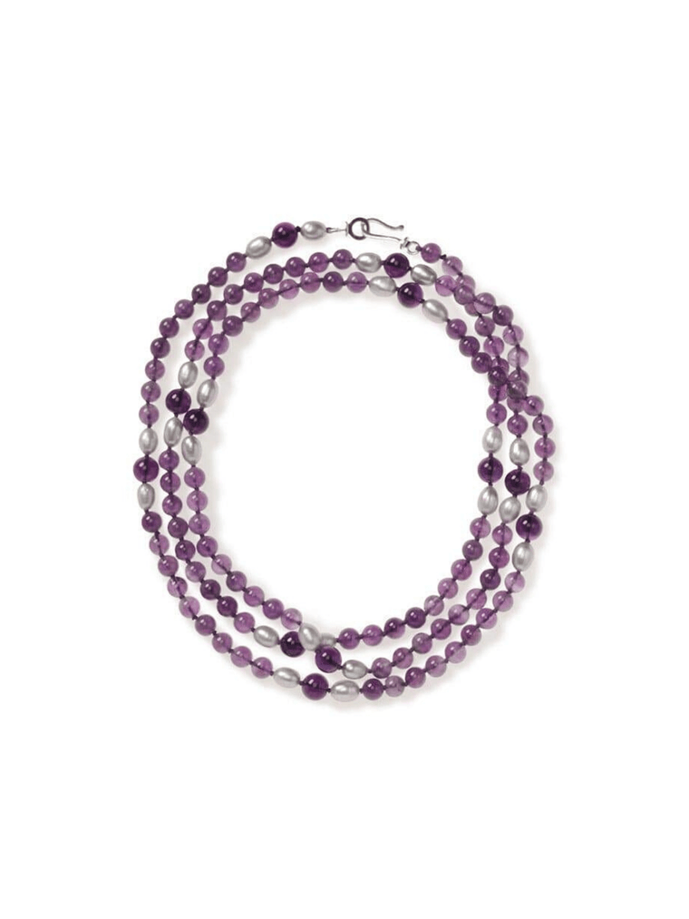 Amethyst and Grey Freshwater Pearl Necklace