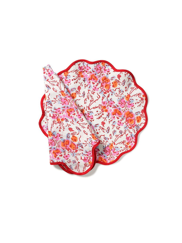 Pink Floral Scalloped Placemat and Napkin (Set of 4)