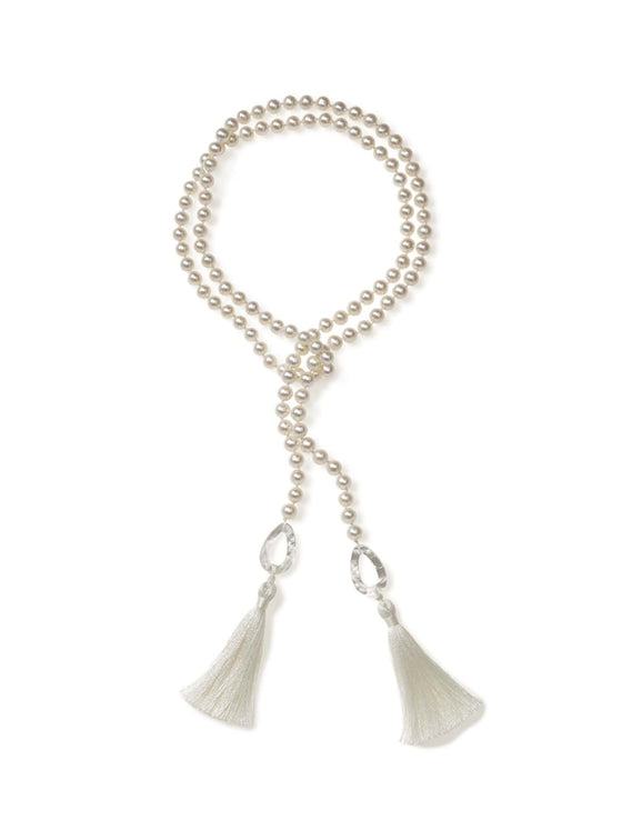 Freshwater Pearl with Mother of Pearl Lariat with Silk Tassel